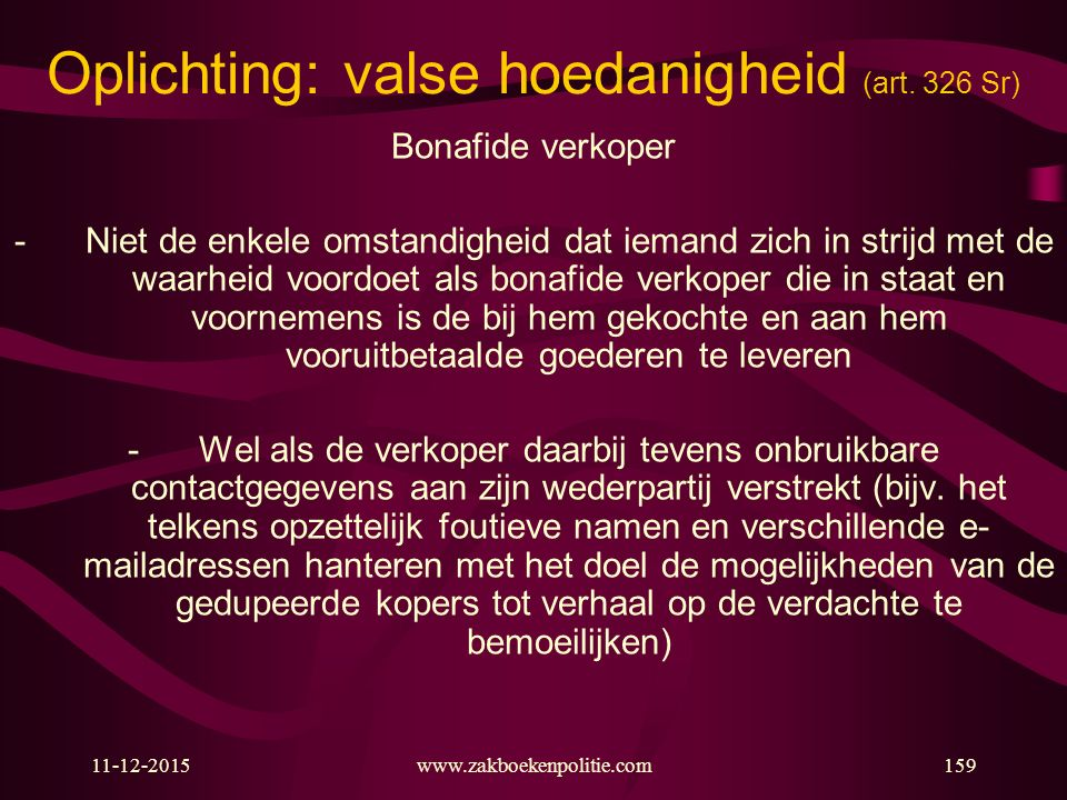 Oplichting: valse hoedanigheid (art. 326 Sr)
