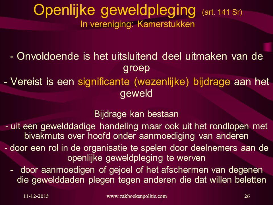 Openlijke geweldpleging (art. 141 Sr) In vereniging: Kamerstukken