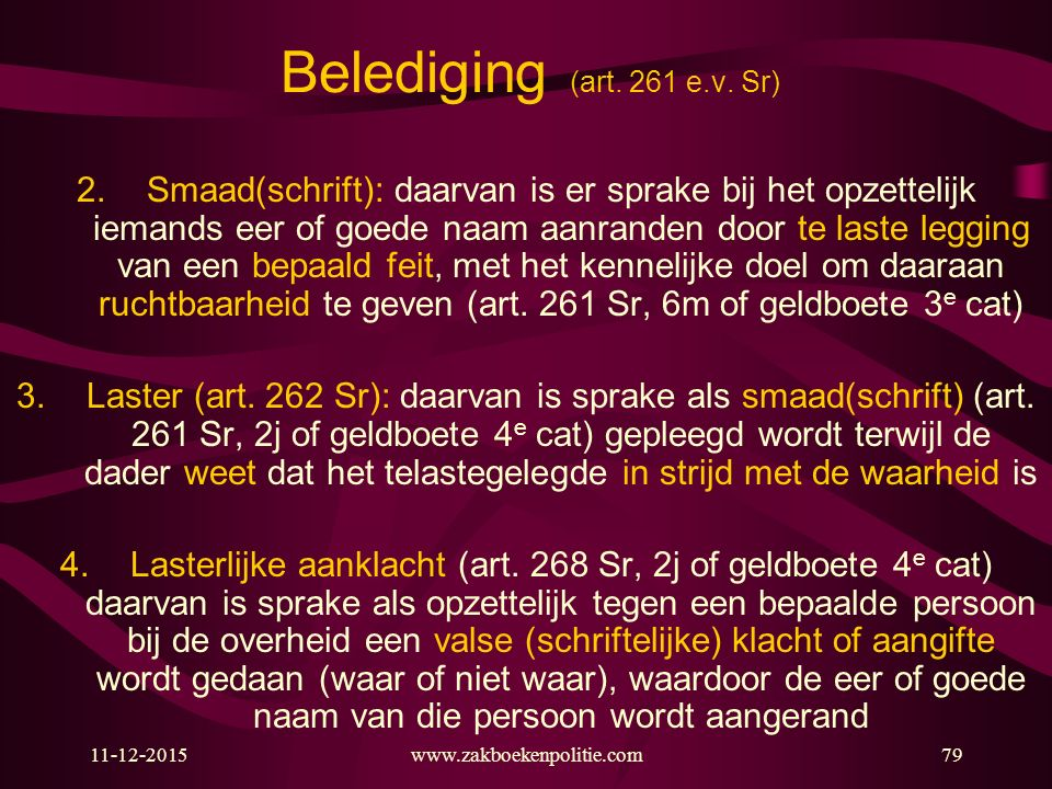 Belediging (art. 261 e.v. Sr)
