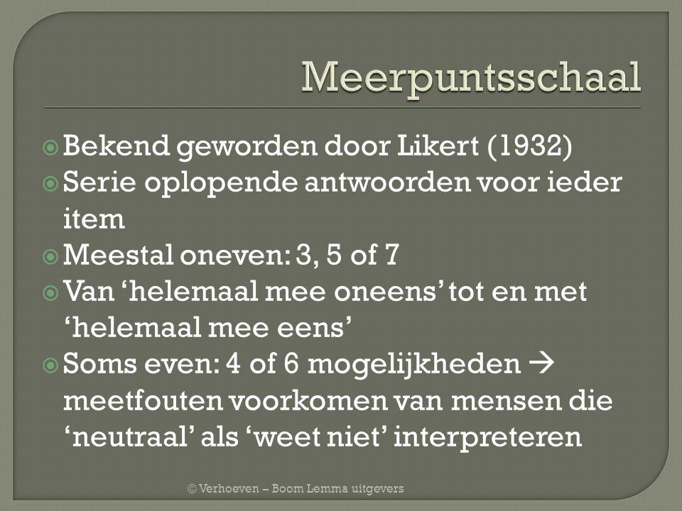 Meerpuntsschaal Bekend geworden door Likert (1932)
