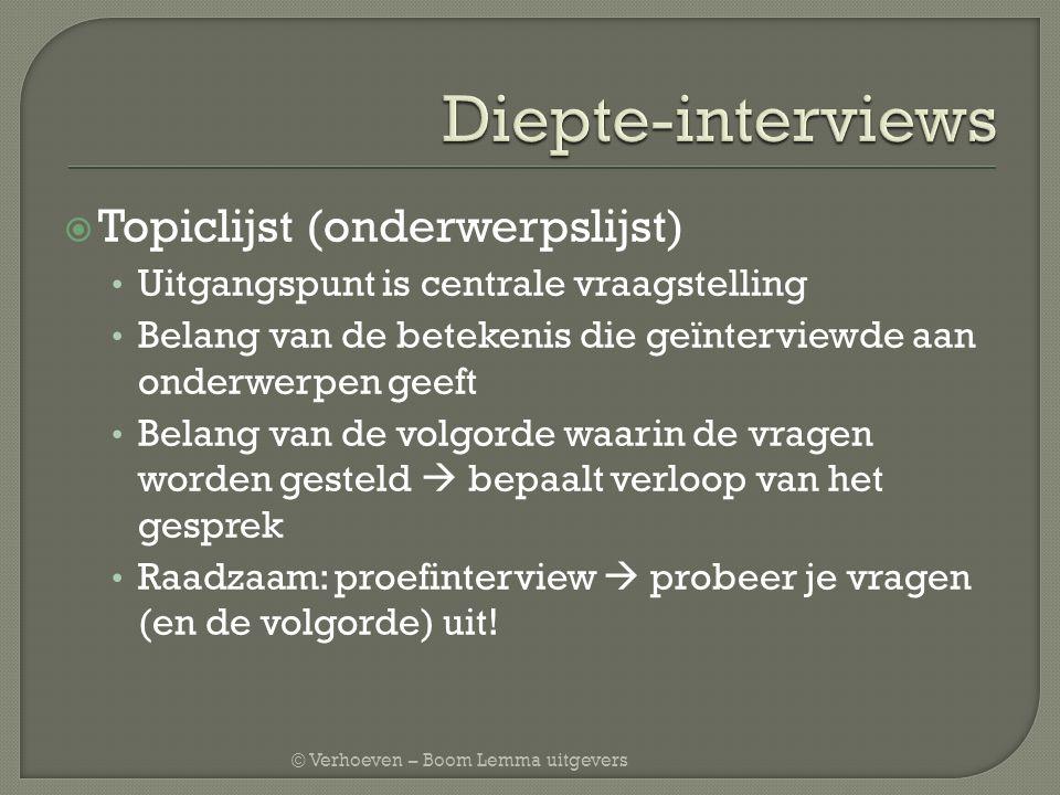 Diepte-interviews Topiclijst (onderwerpslijst)
