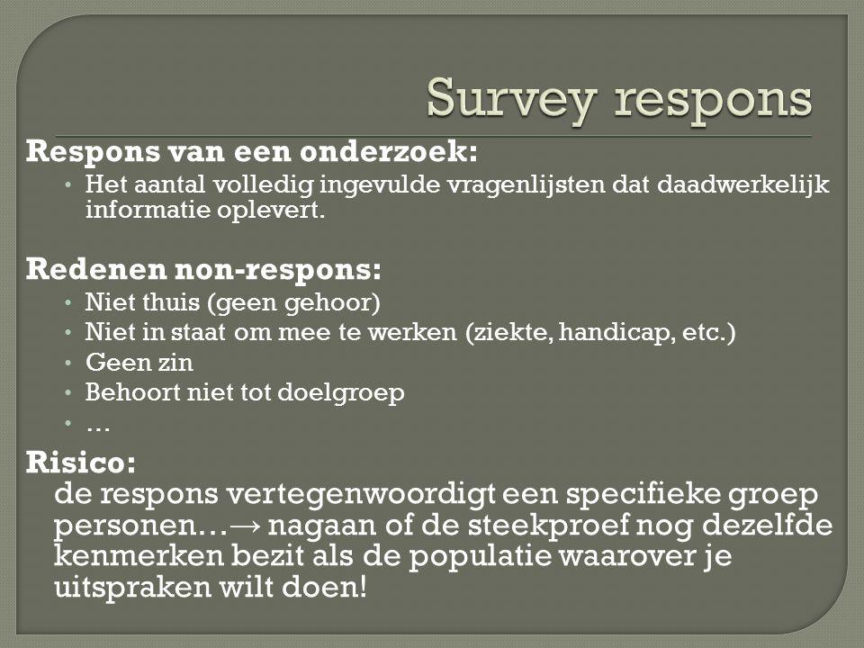 Survey respons Respons van een onderzoek: Redenen non-respons: