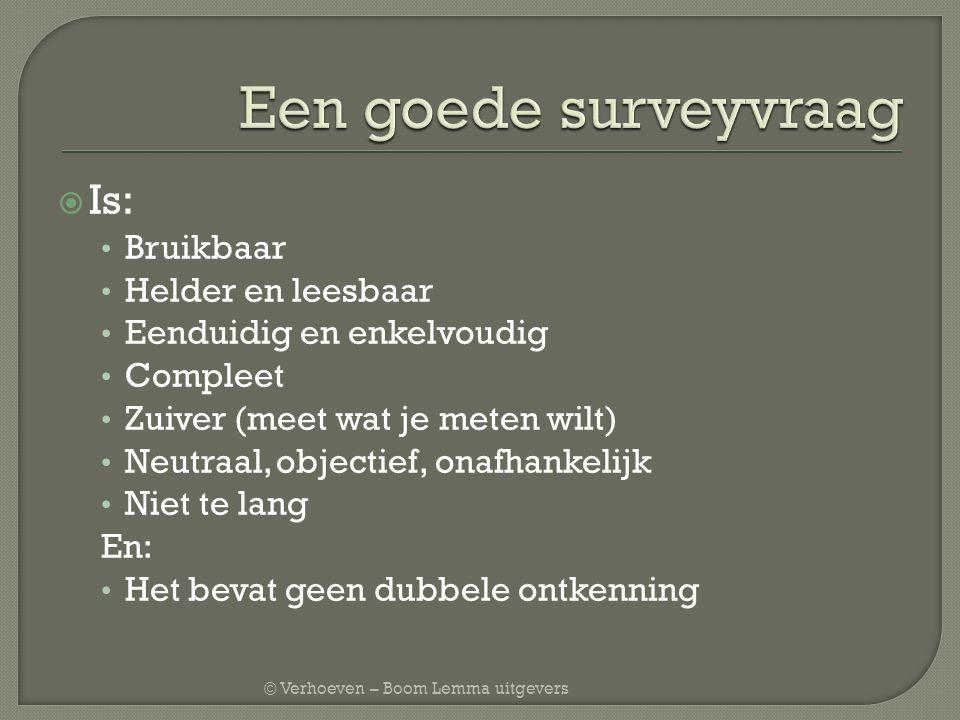 Een goede surveyvraag Is: Bruikbaar Helder en leesbaar