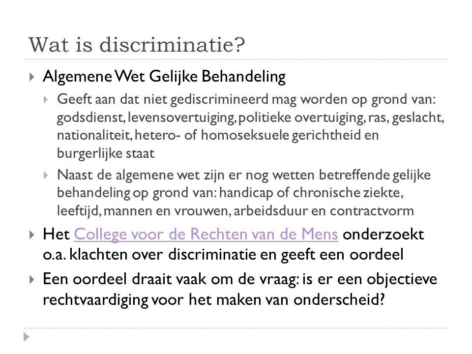 Wat is discriminatie Algemene Wet Gelijke Behandeling