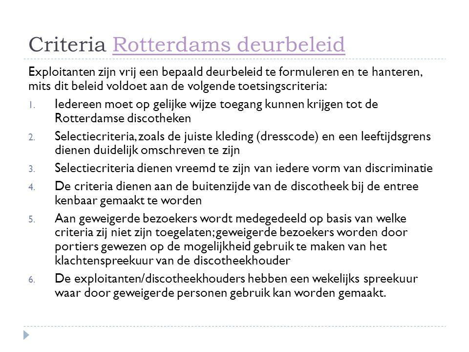 Criteria Rotterdams deurbeleid