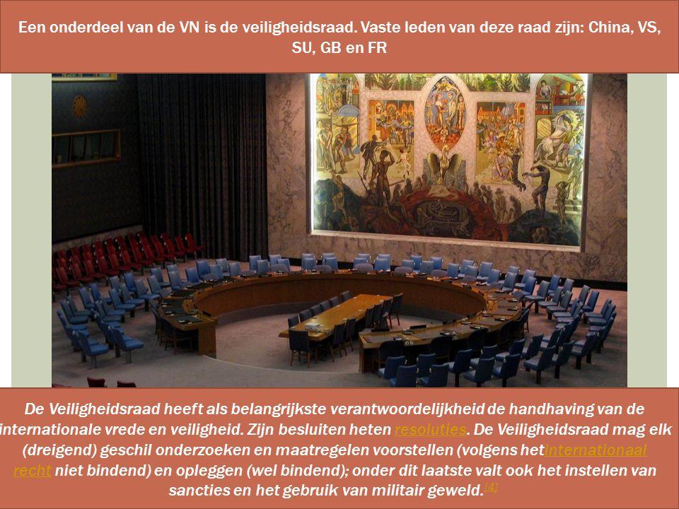 Een onderdeel van de VN is de veiligheidsraad
