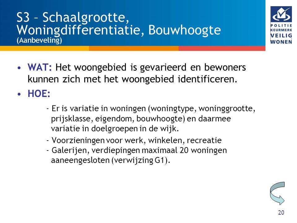 S3 – Schaalgrootte, Woningdifferentiatie, Bouwhoogte (Aanbeveling)