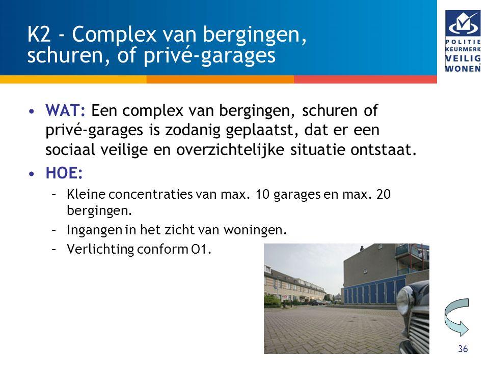 K2 - Complex van bergingen, schuren, of privé-garages