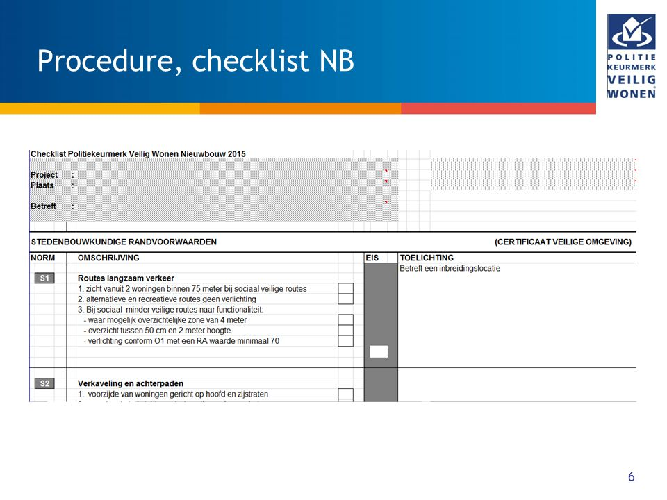 Procedure, checklist NB