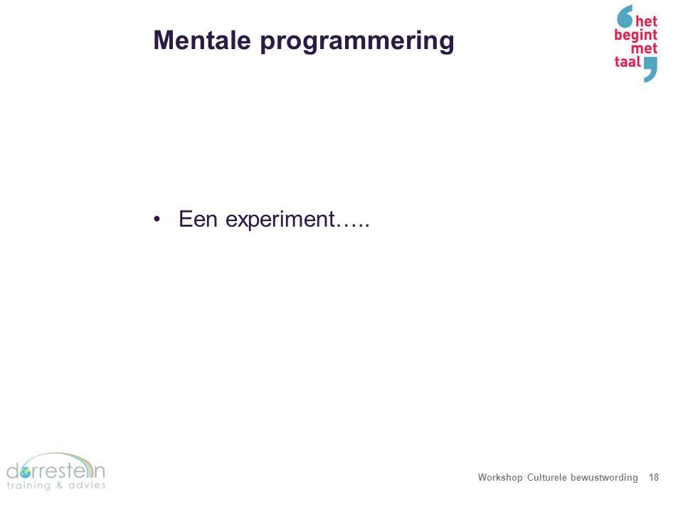 Een experiment… Workshop Culturele bewustwording