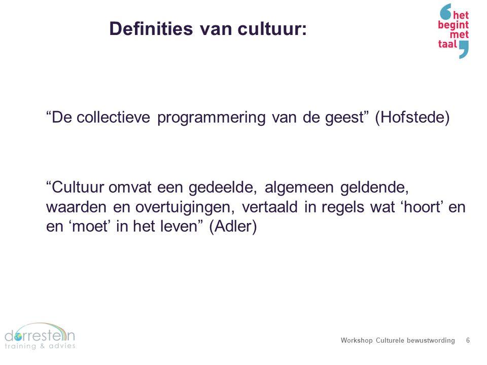 Dus wat is cultuur… Workshop Culturele bewustwording