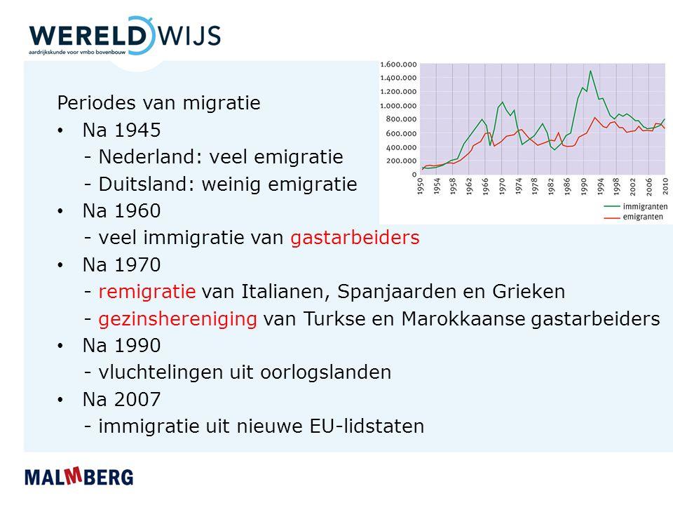 Periodes van migratie Na 1945. - Nederland: veel emigratie. - Duitsland: weinig emigratie. Na 1960.