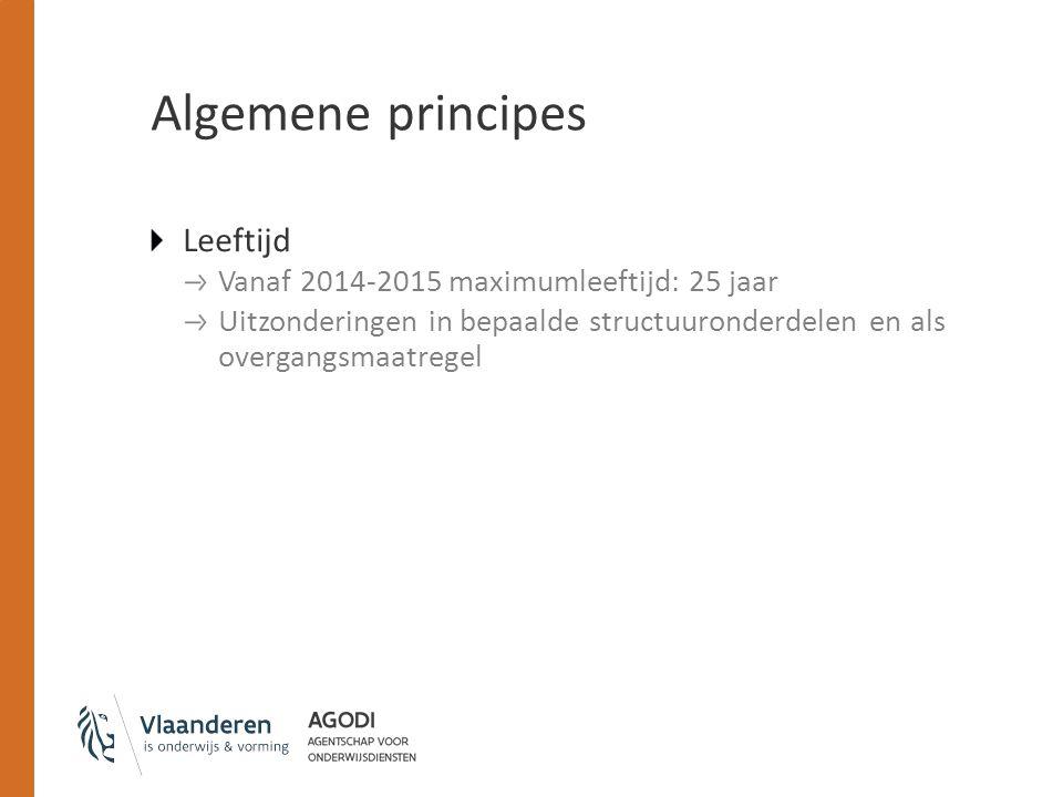 Algemene principes Leeftijd Vanaf 2014-2015 maximumleeftijd: 25 jaar