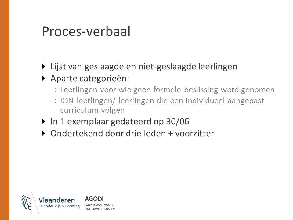 Proces-verbaal Lijst van geslaagde en niet-geslaagde leerlingen