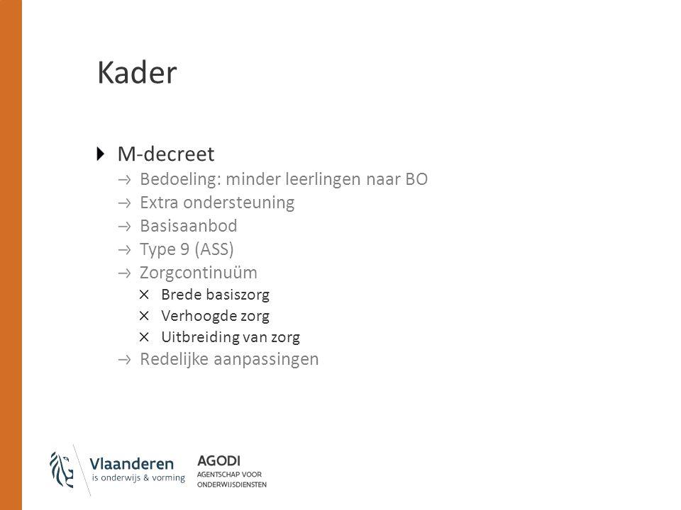 Kader M-decreet Bedoeling: minder leerlingen naar BO