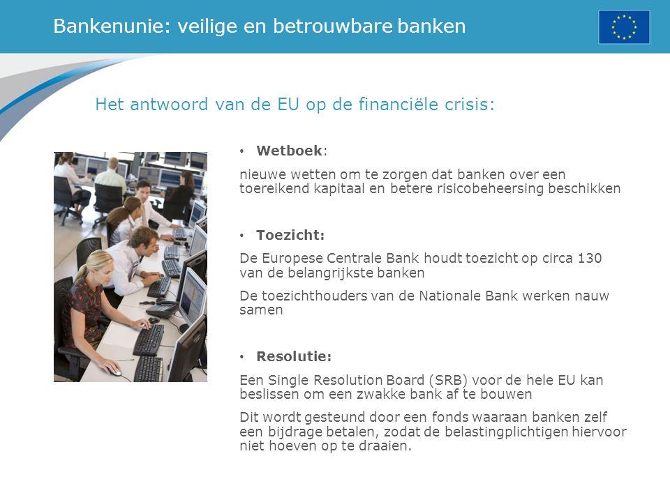Bankenunie: veilige en betrouwbare banken