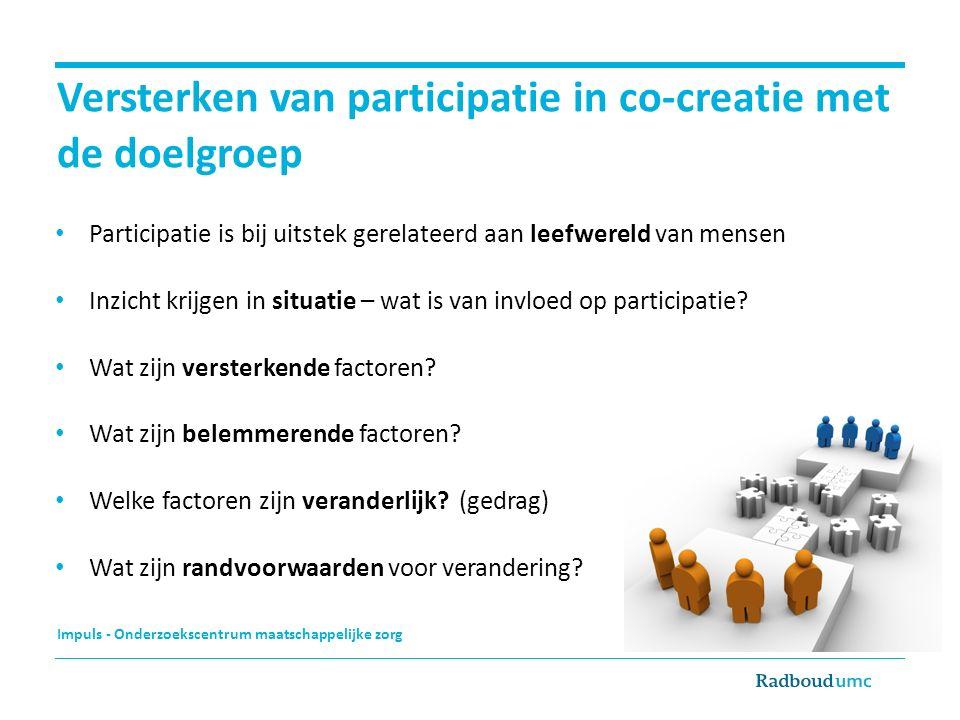 Versterken van participatie in co-creatie met de doelgroep