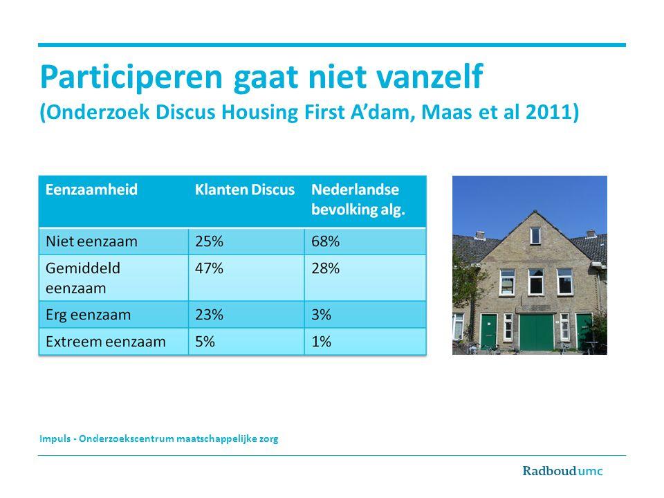 Participeren gaat niet vanzelf (Onderzoek Discus Housing First A'dam, Maas et al 2011)