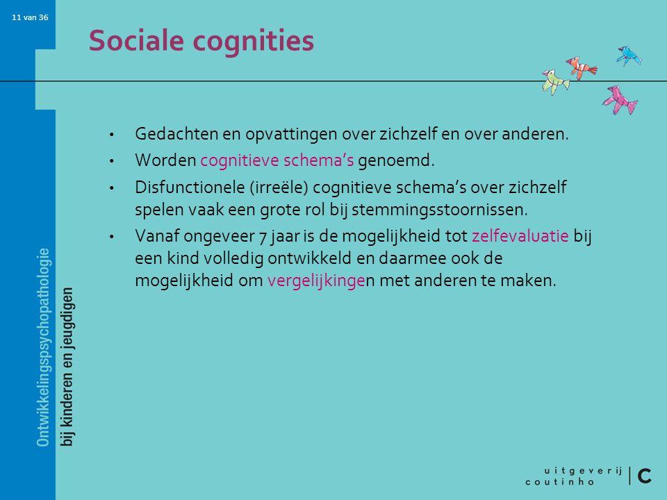 Sociale cognities Gedachten en opvattingen over zichzelf en over anderen. Worden cognitieve schema's genoemd.