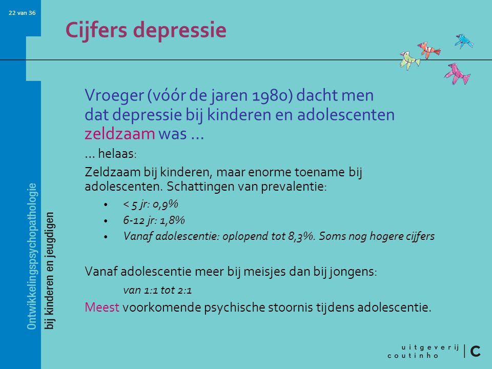 Cijfers depressie Vroeger (vóór de jaren 1980) dacht men dat depressie bij kinderen en adolescenten zeldzaam was …