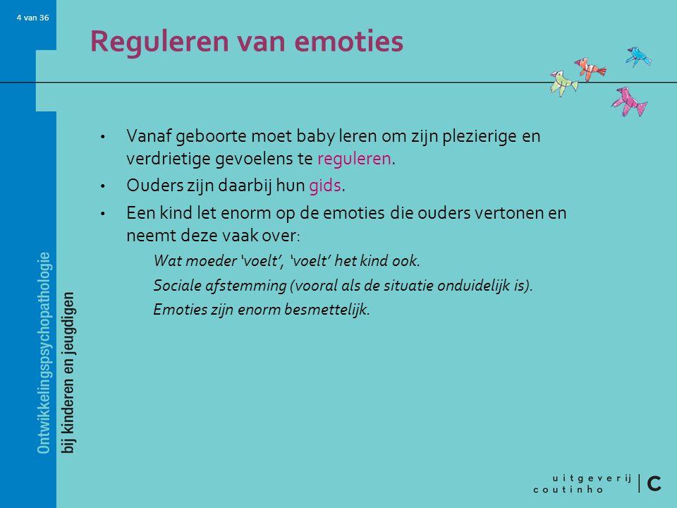 Reguleren van emoties Vanaf geboorte moet baby leren om zijn plezierige en verdrietige gevoelens te reguleren.