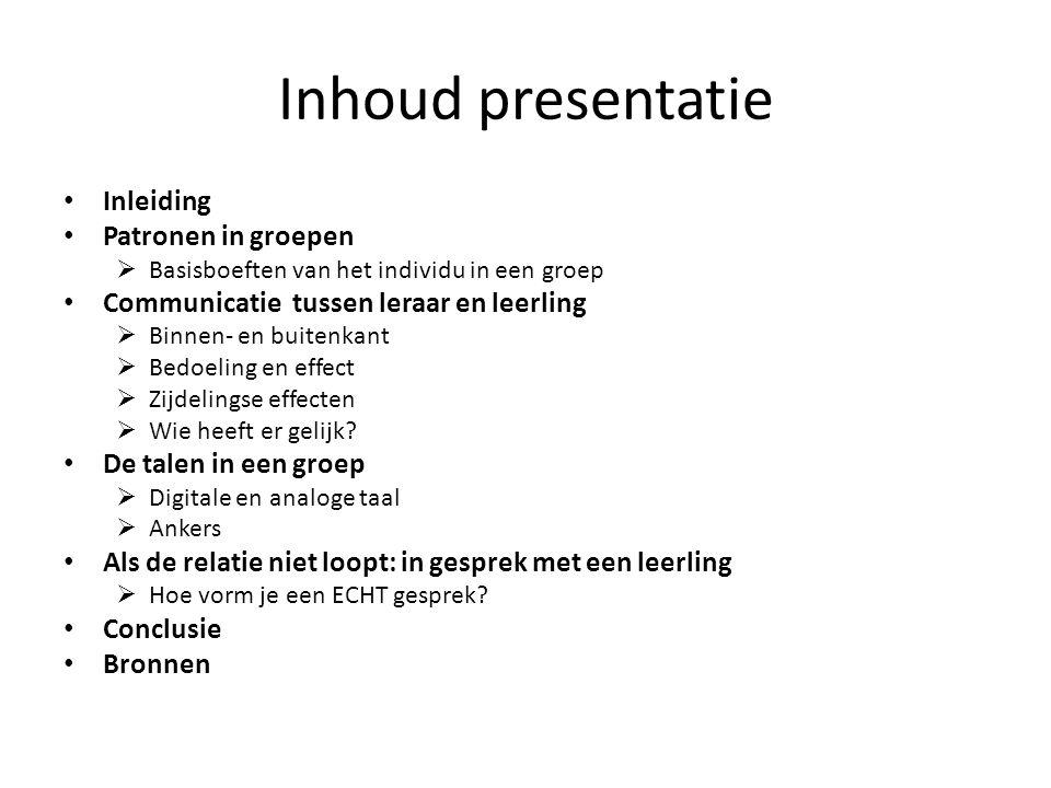 Inhoud presentatie Inleiding Patronen in groepen