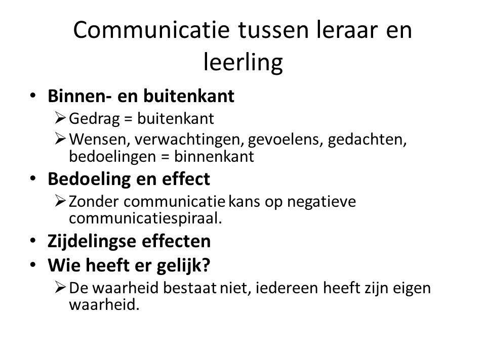 Communicatie tussen leraar en leerling