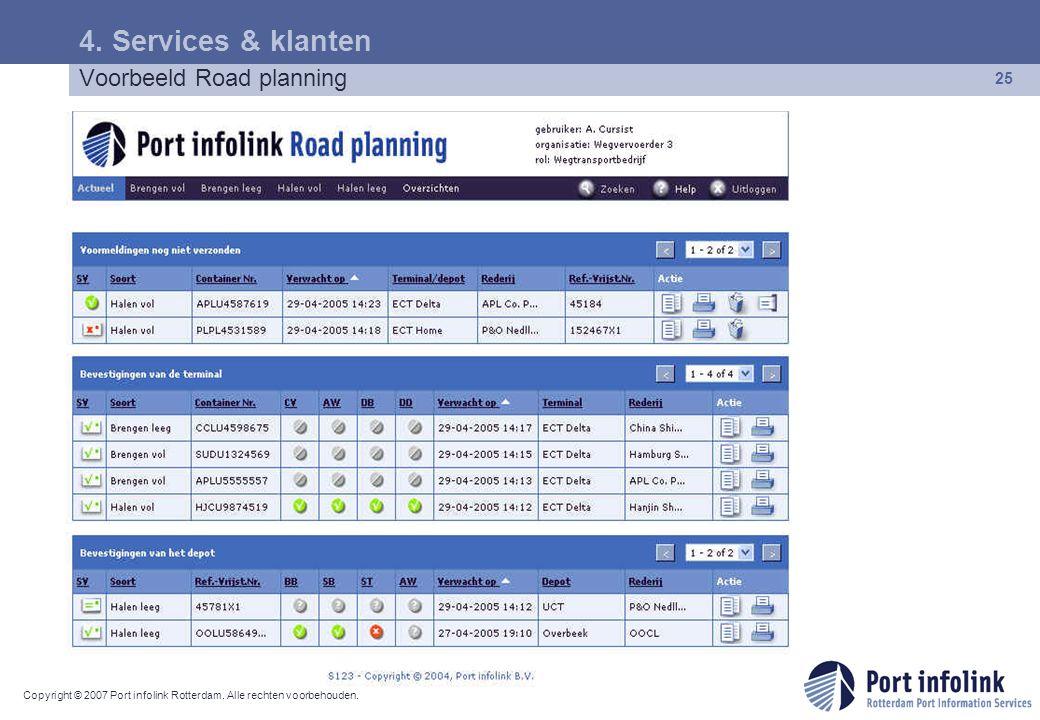 4. Services & klanten Voorbeeld Road planning