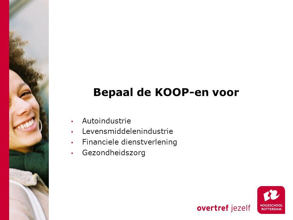 Bepaal de KOOP-en voor Autoindustrie Levensmiddelenindustrie