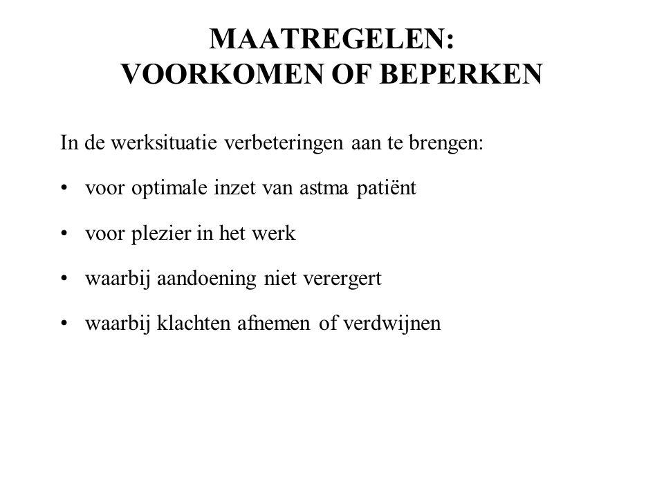 MAATREGELEN: VOORKOMEN OF BEPERKEN