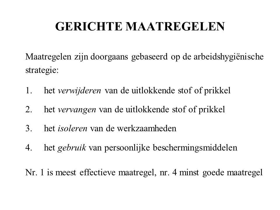 GERICHTE MAATREGELEN Maatregelen zijn doorgaans gebaseerd op de arbeidshygiënische. strategie: het verwijderen van de uitlokkende stof of prikkel.