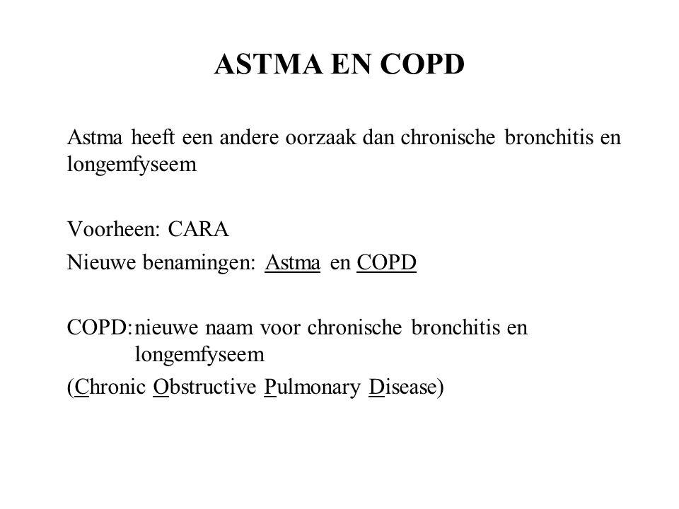 ASTMA EN COPD Astma heeft een andere oorzaak dan chronische bronchitis en longemfyseem. Voorheen: CARA.