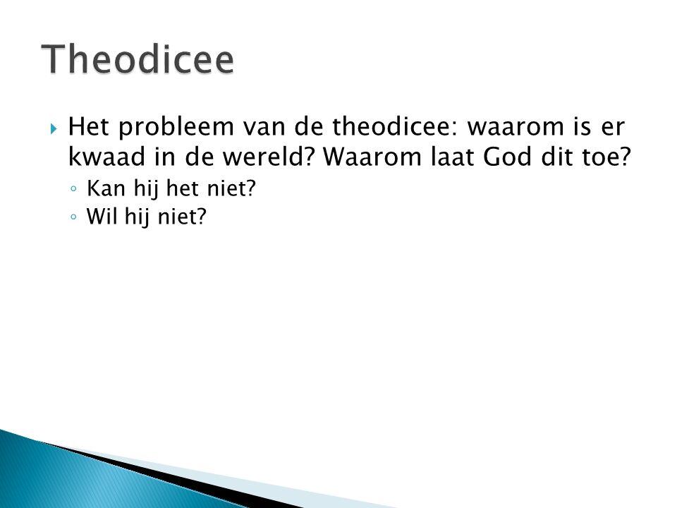 Theodicee Het probleem van de theodicee: waarom is er kwaad in de wereld Waarom laat God dit toe