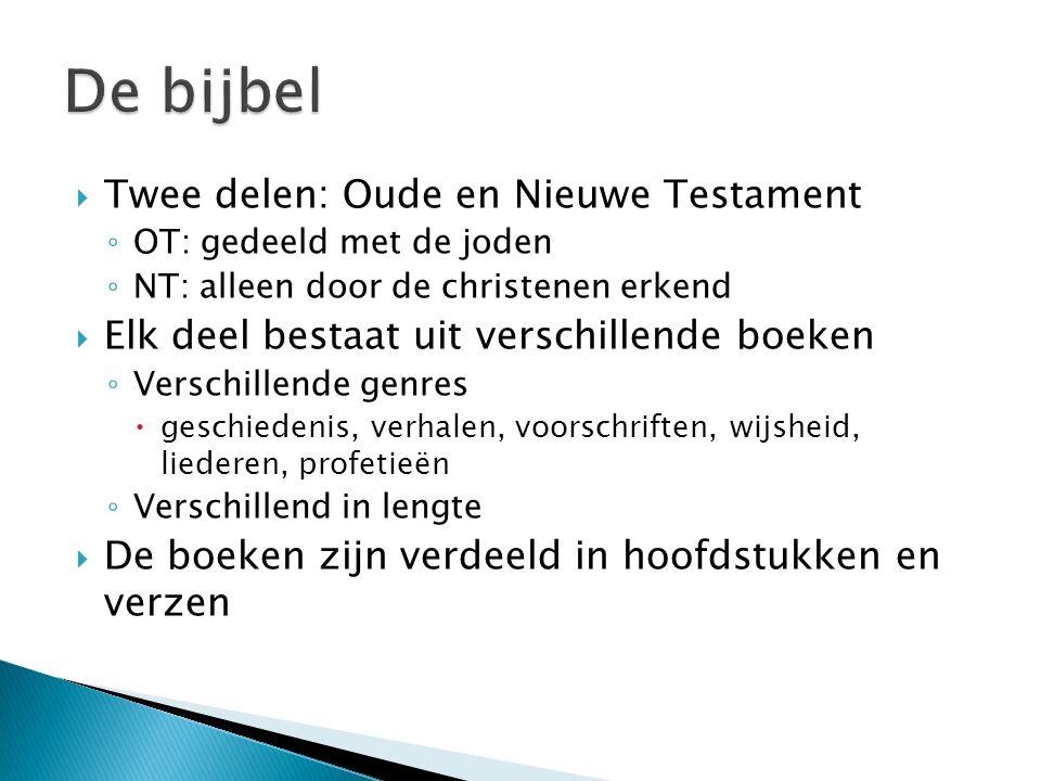 De bijbel Twee delen: Oude en Nieuwe Testament