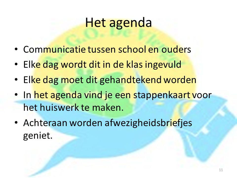 Het agenda Communicatie tussen school en ouders