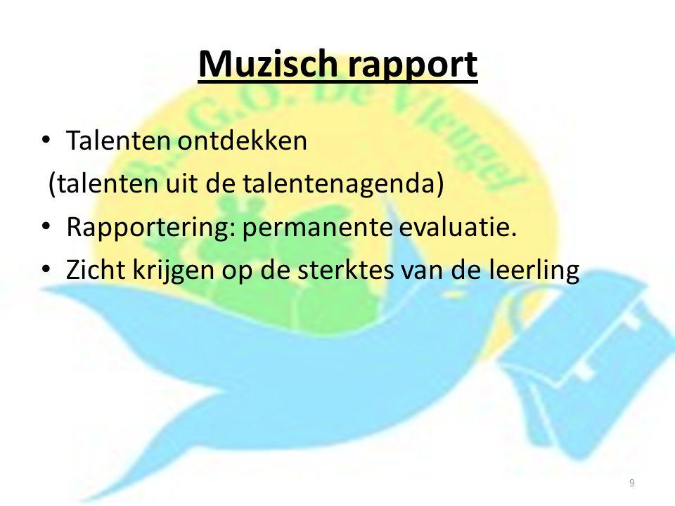 Muzisch rapport Talenten ontdekken (talenten uit de talentenagenda)