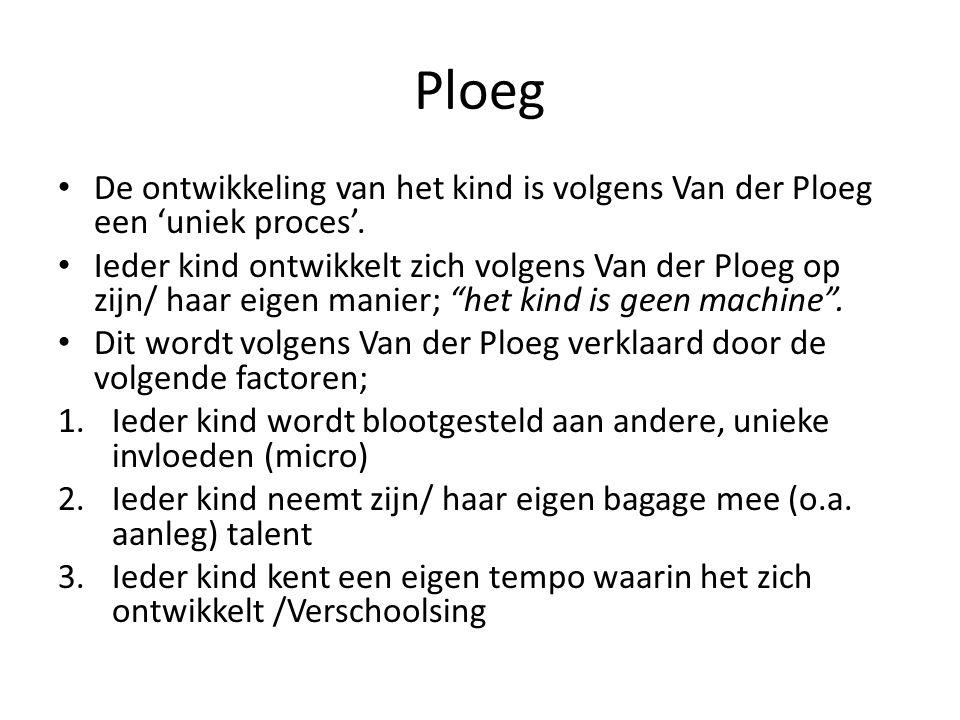 Ploeg De ontwikkeling van het kind is volgens Van der Ploeg een 'uniek proces'.