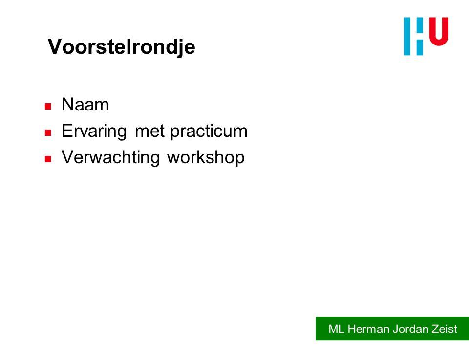 Voorstelrondje Naam Ervaring met practicum Verwachting workshop