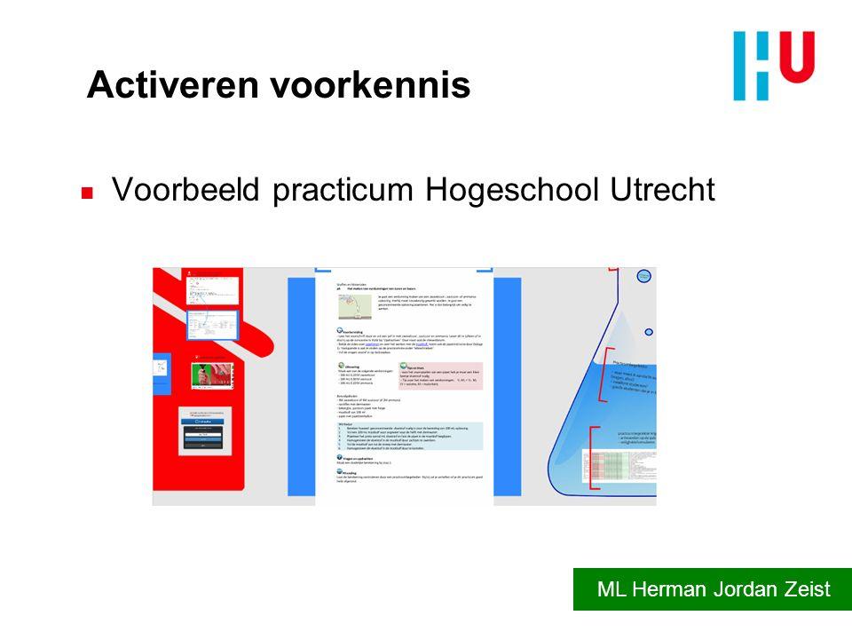 Activeren voorkennis Voorbeeld practicum Hogeschool Utrecht