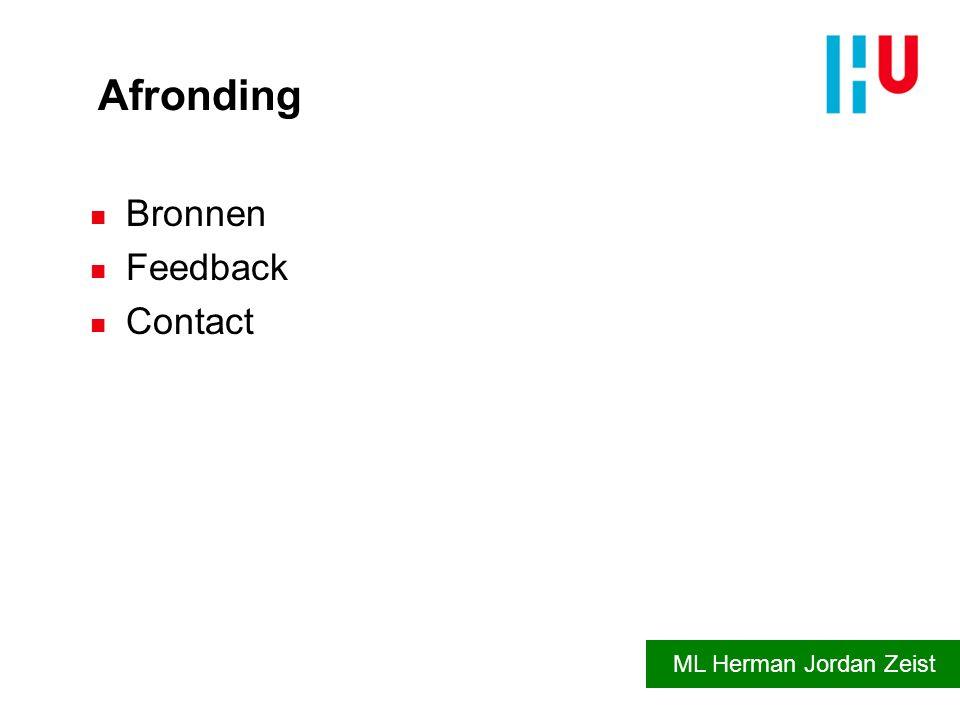 Afronding Bronnen Feedback Contact ML Herman Jordan Zeist