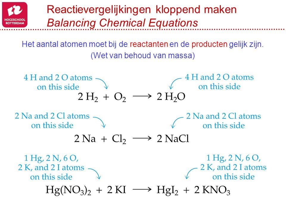 Reactievergelijkingen kloppend maken Balancing Chemical Equations