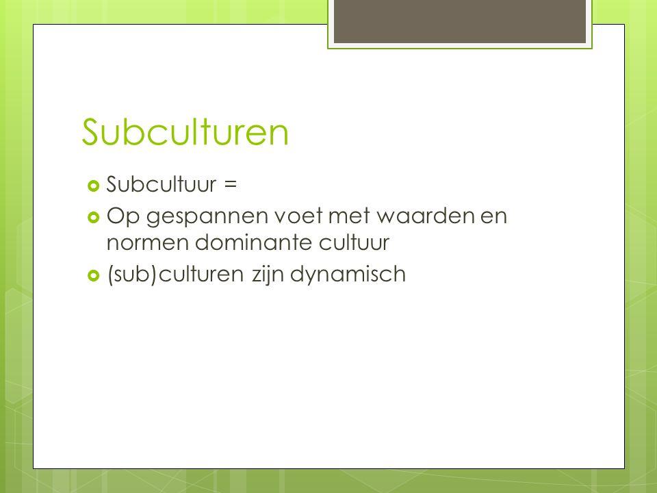 Subculturen Subcultuur =