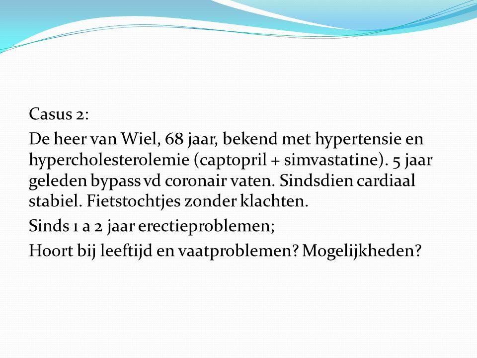 Casus 2: De heer van Wiel, 68 jaar, bekend met hypertensie en hypercholesterolemie (captopril + simvastatine).