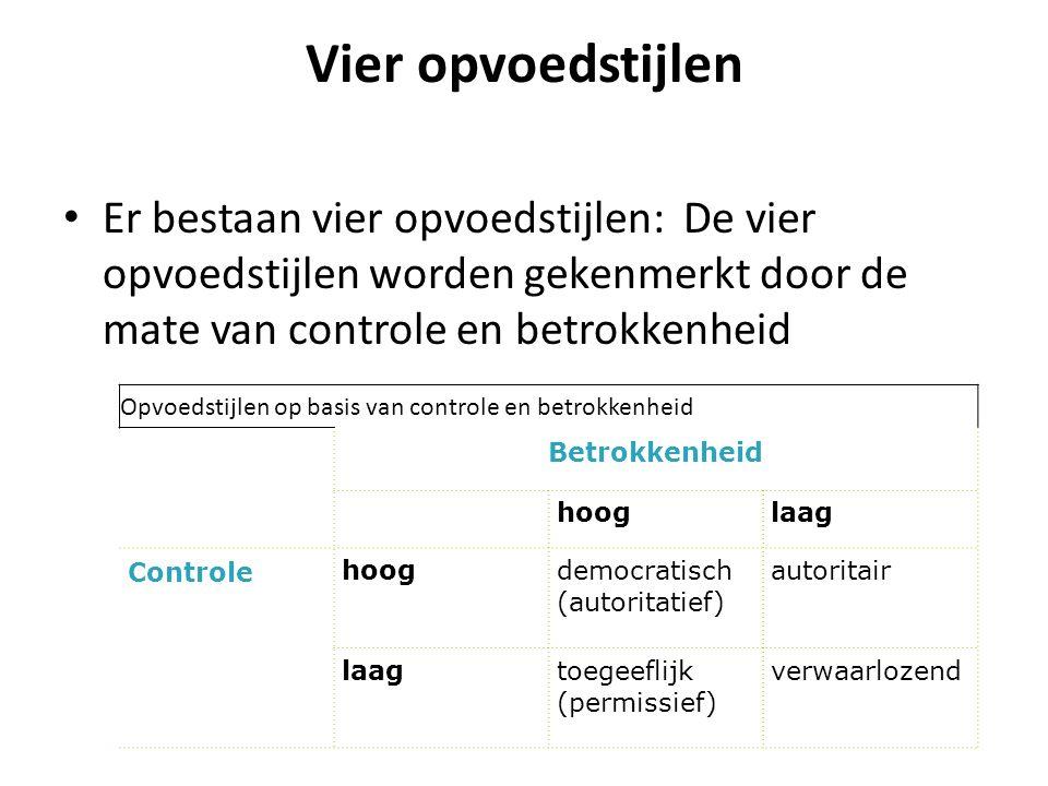 Vier opvoedstijlen Er bestaan vier opvoedstijlen: De vier opvoedstijlen worden gekenmerkt door de mate van controle en betrokkenheid.