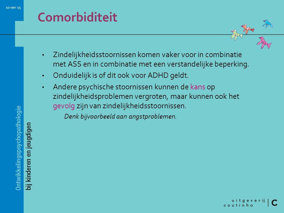 Comorbiditeit Zindelijkheidsstoornissen komen vaker voor in combinatie met ASS en in combinatie met een verstandelijke beperking.