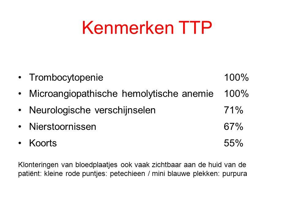 Kenmerken TTP Trombocytopenie 100%