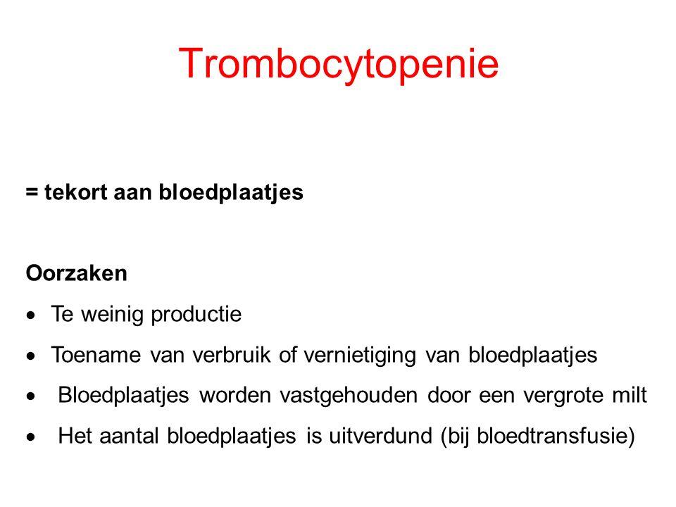 Trombocytopenie = tekort aan bloedplaatjes Oorzaken