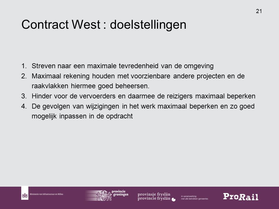 Contract West : doelstellingen