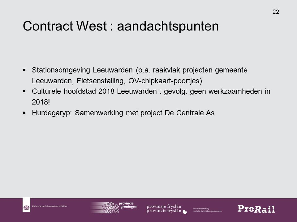Contract West : aandachtspunten