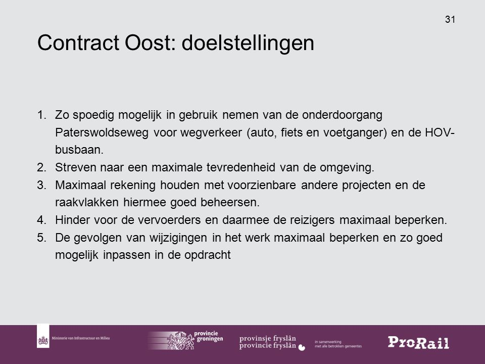 Contract Oost: doelstellingen